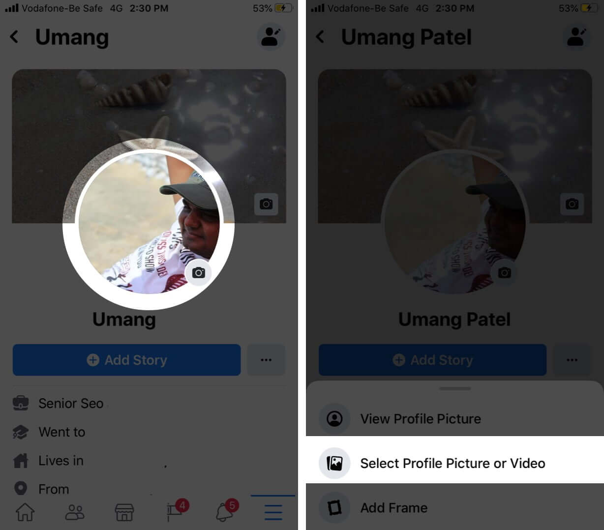 Select Profile Picture and Video in Facebook Profile on iPhone