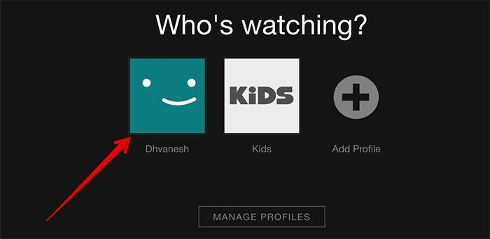 Select Profile in Netflix on Web