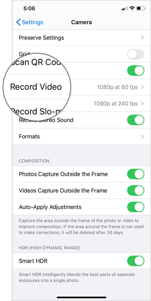 Select Record Video in Camera Settings on iPhone
