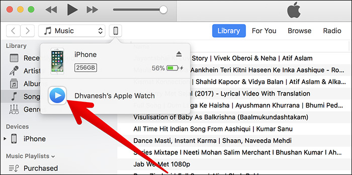 Select Remote in iTunes