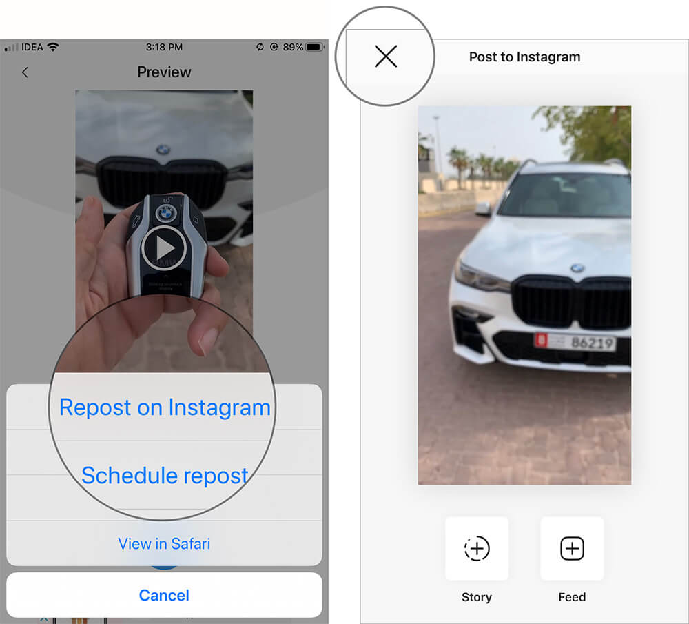 Select Repost on Instagram and tap on Cancel in Regrammer app