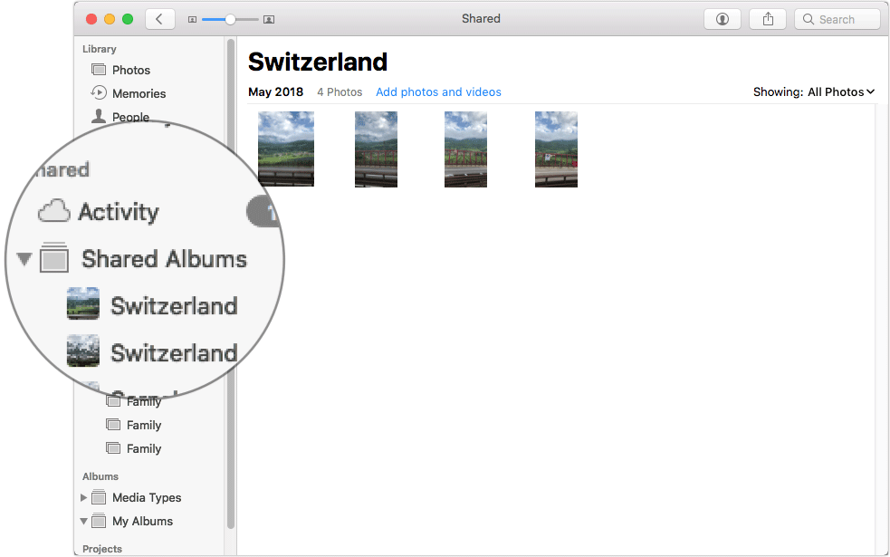 Select Shared Album in Photos App on Mac