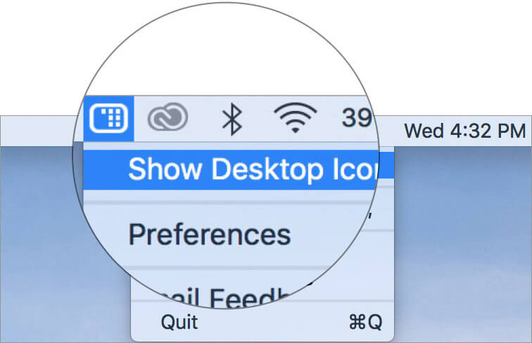 Select Show Desktop Icons in Mac HiddenMe App