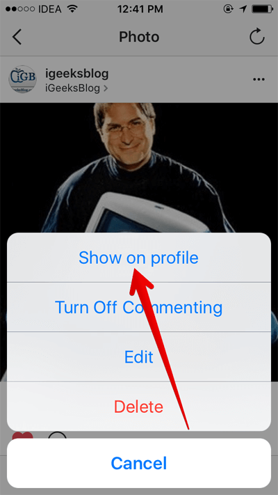 Select Show on Profile