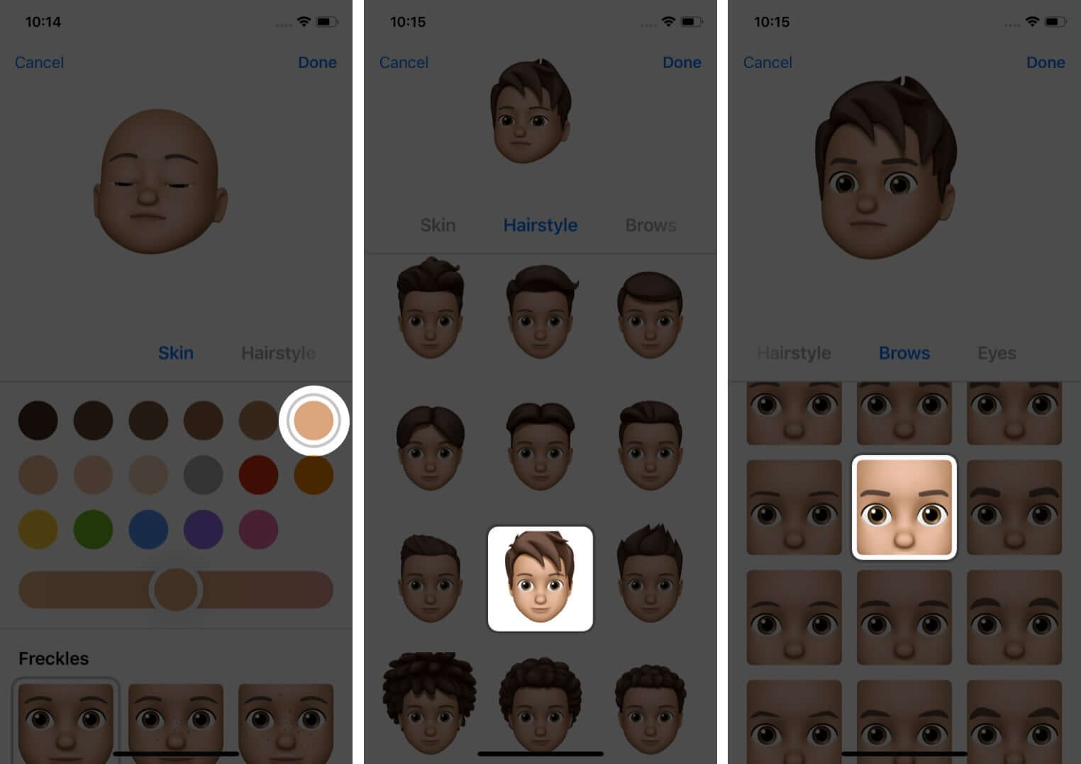 Select Skin Hairstyle and Brows