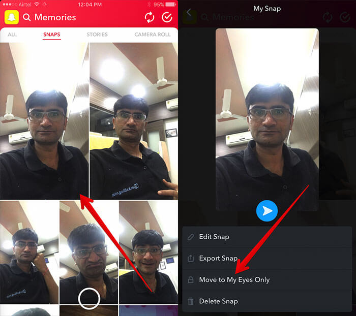 Select Snap to Move to My Eyes Only in Snapchat