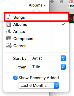 Select Songs from iTunes 12