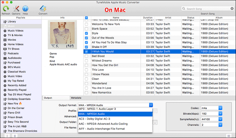 Select Songs in TuneMobie on Mac