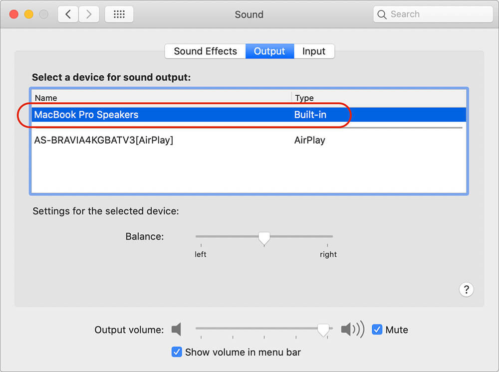 Select Speakers in Output Tab on Mac