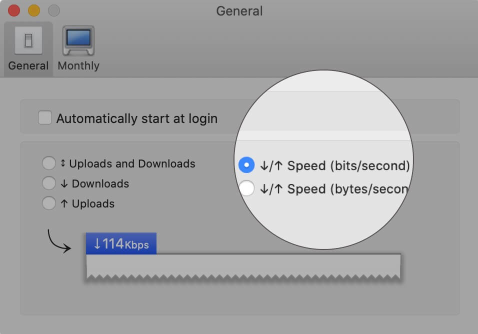 Select Speed (bit:second) in General Tab on Mac
