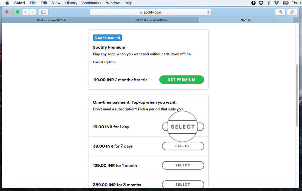 Select Spotify Subscription Plan in Spotify website on Mac