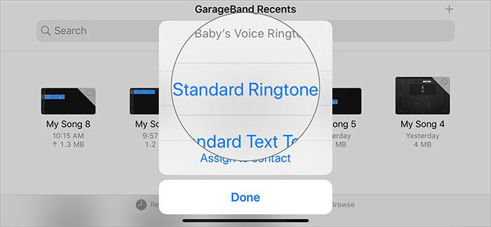 Wählen Sie in GarageBand Recents den Standard-Klingelton aus, um Sprachnotizen in Klingeltöne umzuwandeln