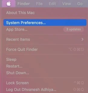 Select System Preferences from Mac Manu Bar