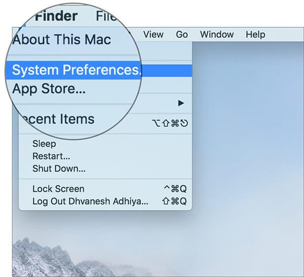 Select System Preferences on Mac