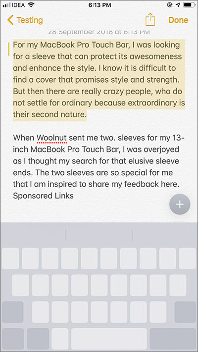Select Text in Trackpad Mode on iPhone