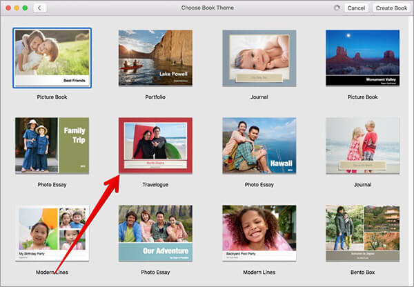 Select Theme for Photo Book on Mac