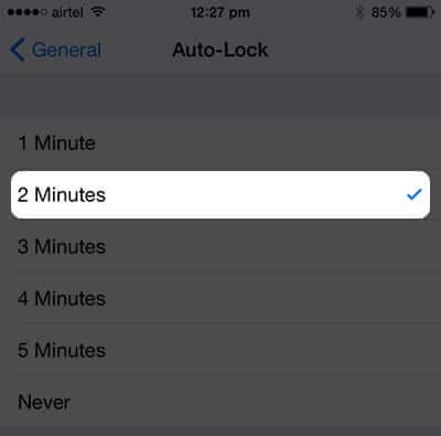 Select Time for iPhone Auto Lock