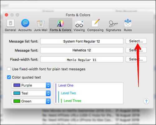 Select To Change Message List Font Option in Mac Mail App