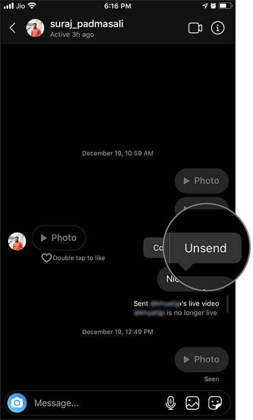 Select Unsend Message in Instagram App on iPhone