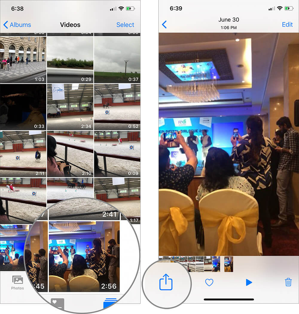 Select Video and Tap on Share Sheet on iPhone or iPad