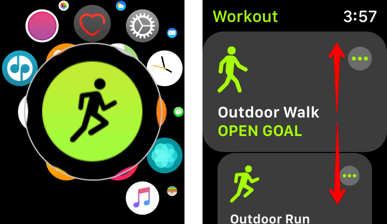 Select Workout on Apple Watch