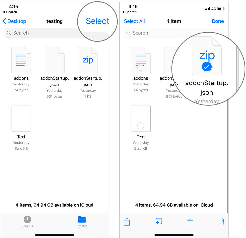 Select Zip File in Files App on iPhone