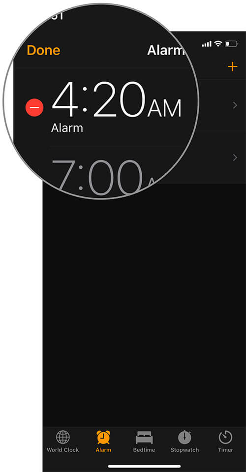 Select alarm to which you want to set the song