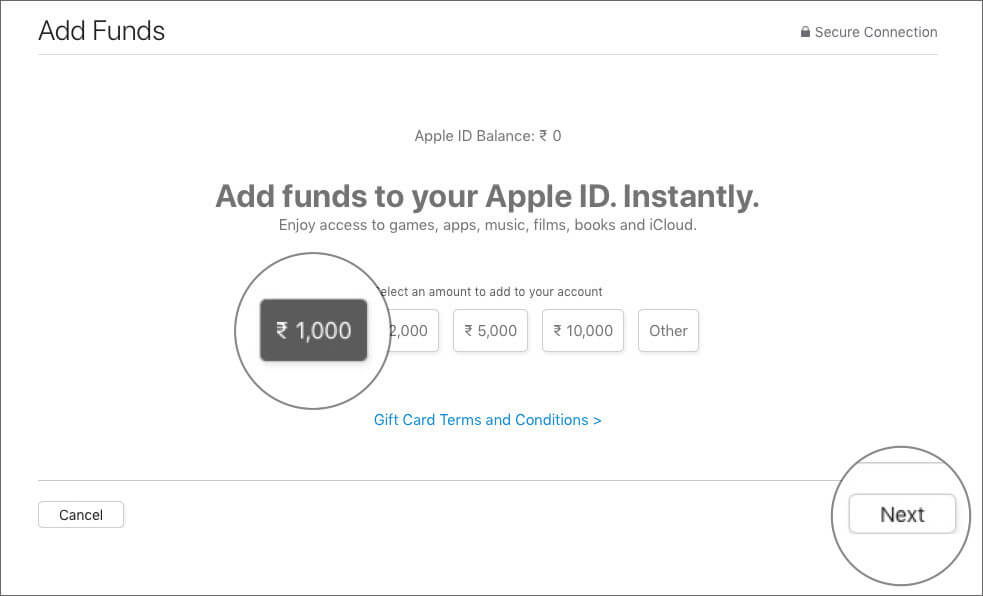 Select an amount and click Next in Mac App Store