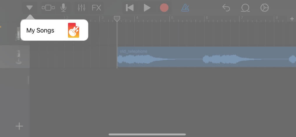 Select down arrow icon and tap My Songs on iPhone