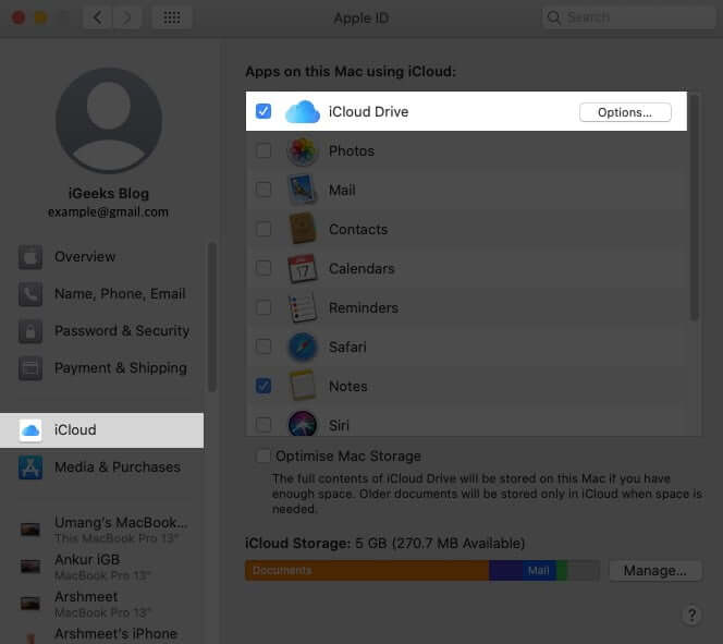 Select iCloud Drive and Click on Option in macOS Catalina