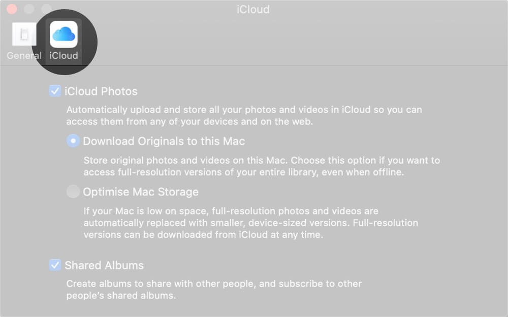Select iCloud Tab in Photos Preferences on Mac