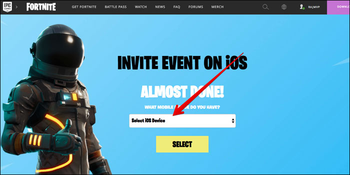 Select iOS Device You Want to play Fortnite Battle Royale Game