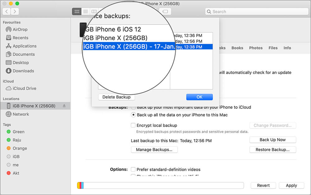 Select iPhone Backup in macOS Catalina