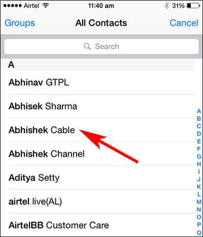 Select iPhone Contact to Assign Photo