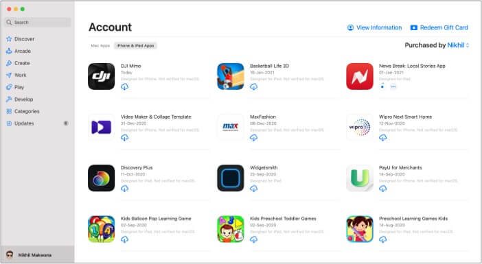 Select iPhone app from Mac App Store and click the download button