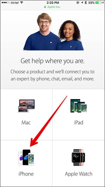 Wählen Sie das iPhone auf der Apple Support-Website aus
