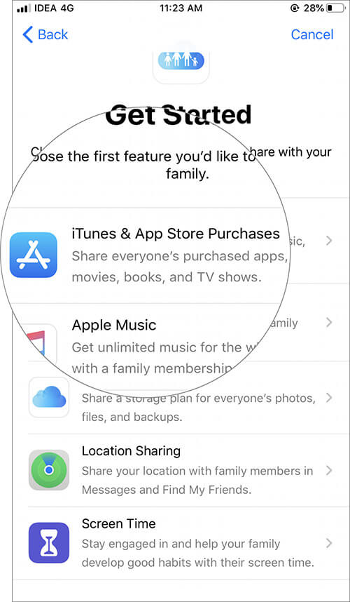 Select iTunes from App Store Purchases in iOS Family Sharing Settings