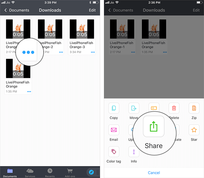 Select the Clip and Tap on Share Option in Documents App on iPhone