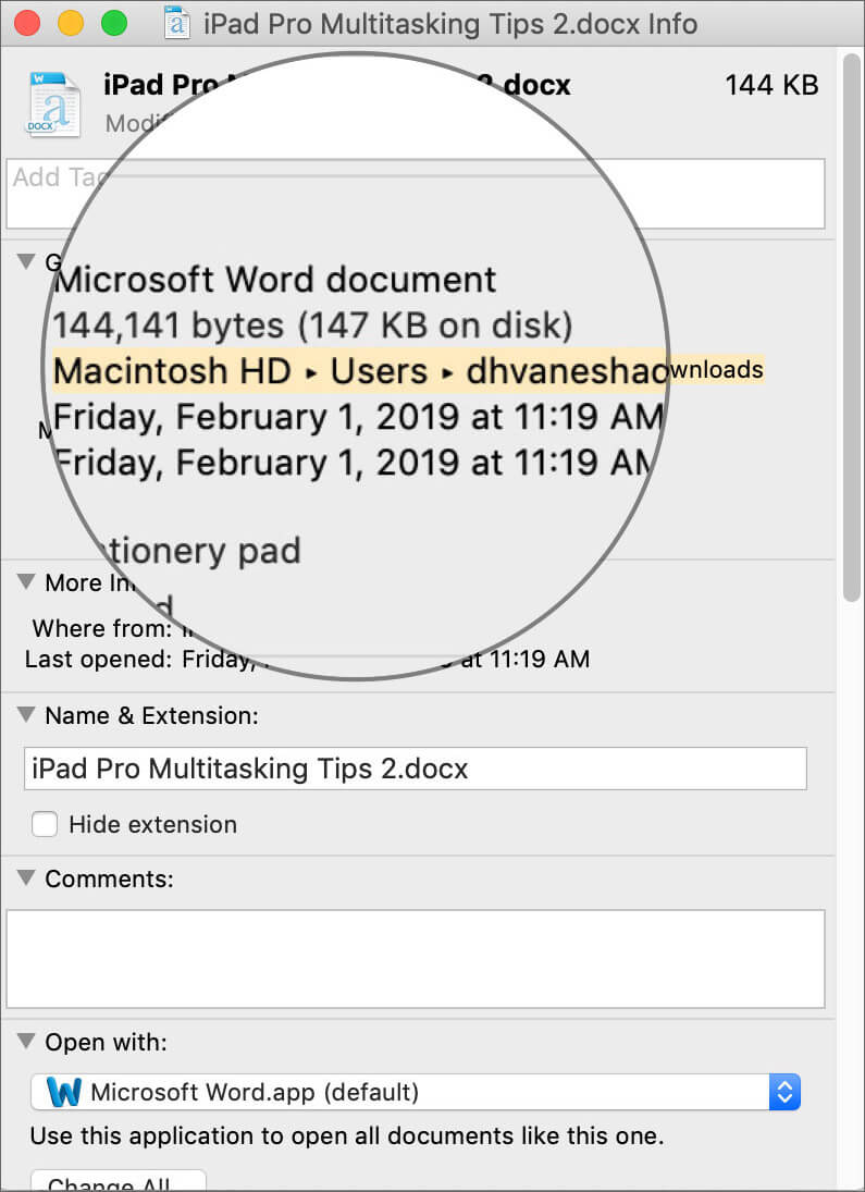 Select the File Path to Copy in Get Info Window on Mac