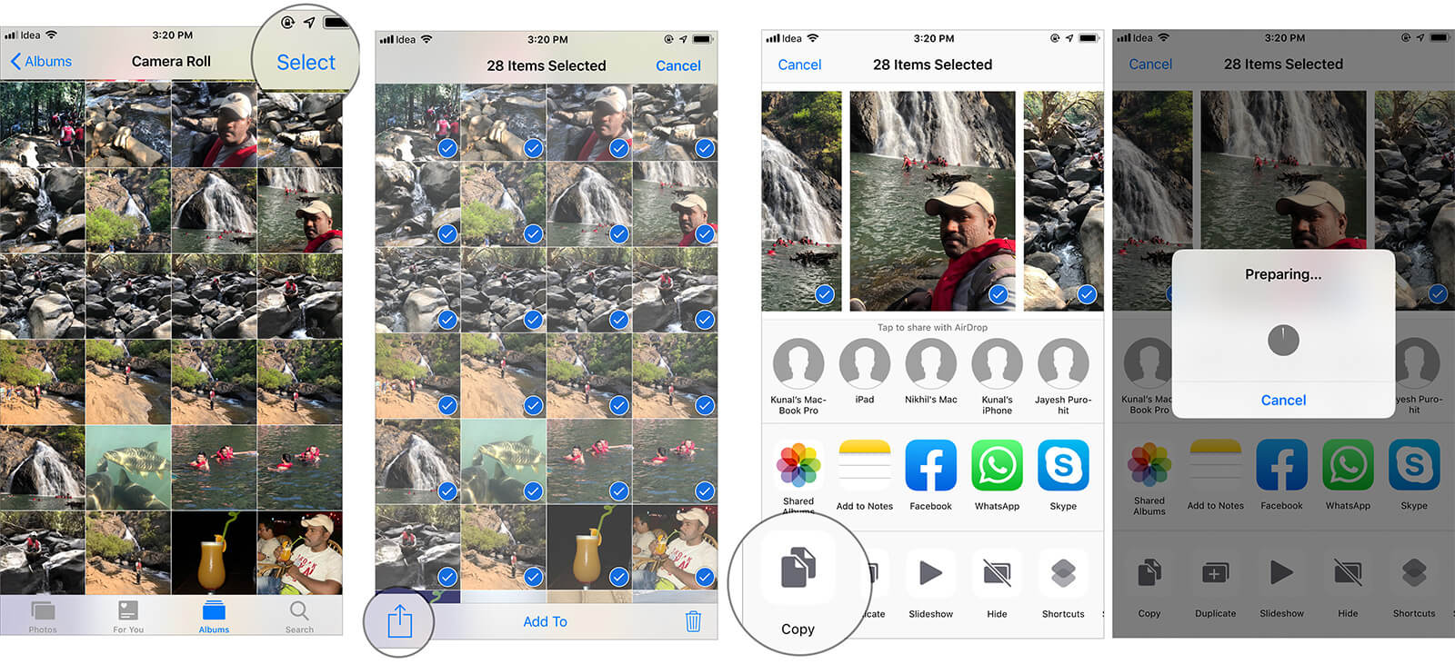 Select the Photos you wish to Send from iPhone