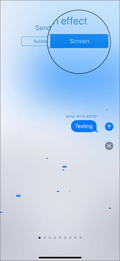 Select the Screen tab in iMessage on iPhone