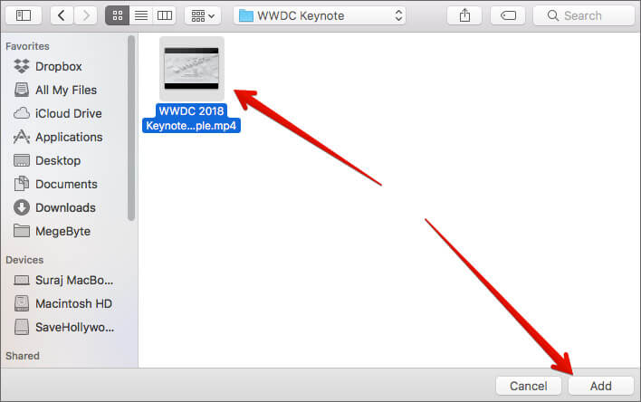 Select the Video and Click Add on Mac