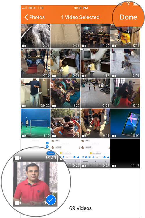 Select the Video and tap on Done in iOS Audio Extractor app