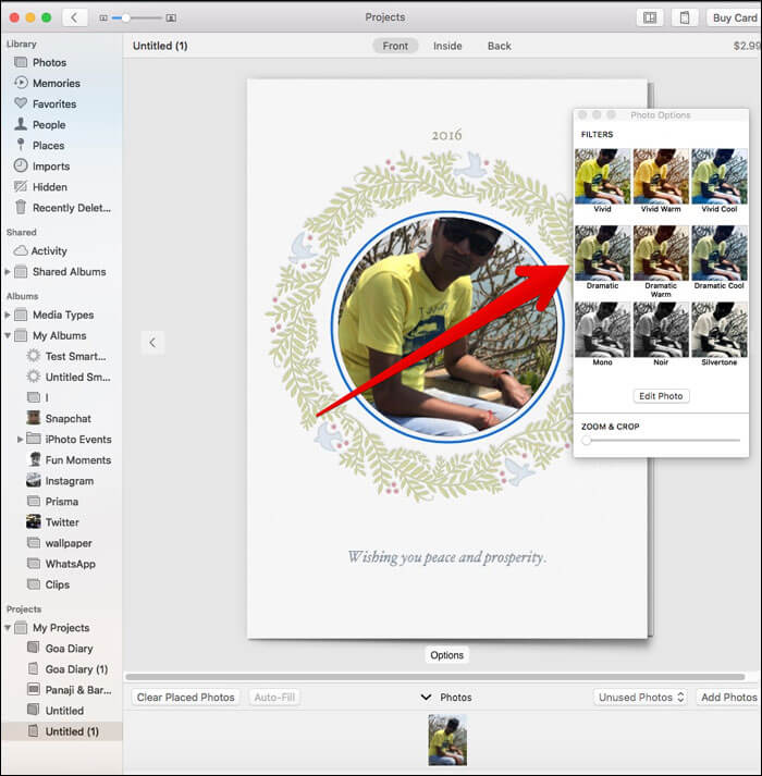 Select the filters in Photos App on Mac