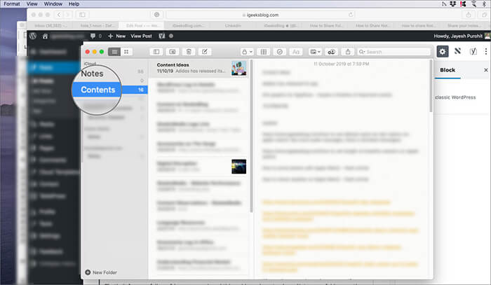 Select the folder from navigation panel in Notes app on Mac