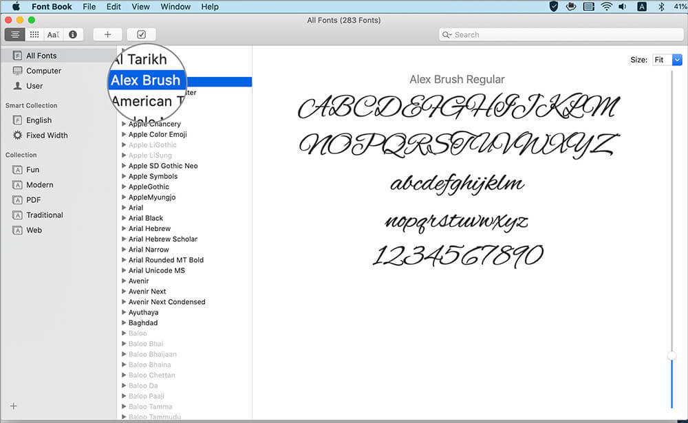 Select the fontyou wish to disable in the Font Book window