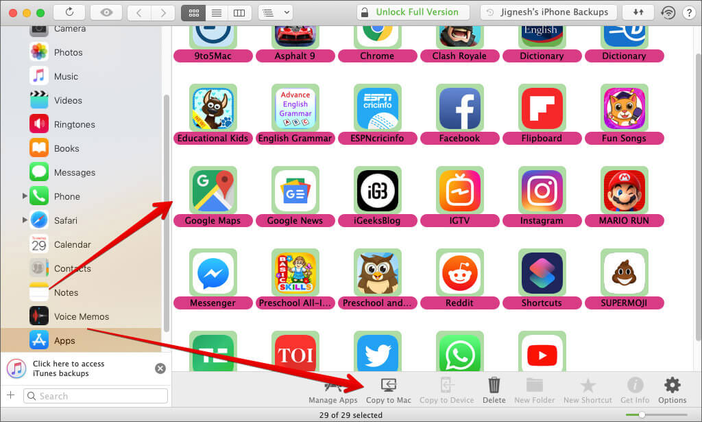 Select the iPhone or iPad Apps and then Click Copy to Mac in iMazing