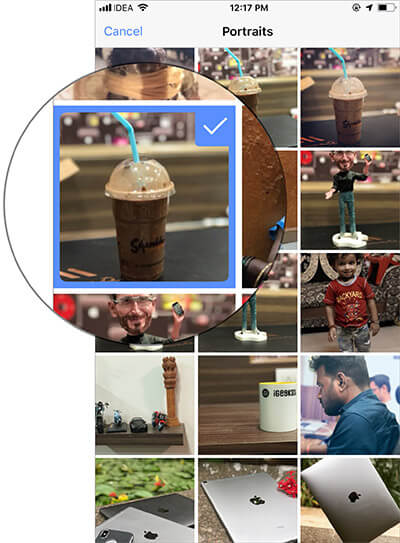 Select the one Portrait photo in Facebook on iPhone