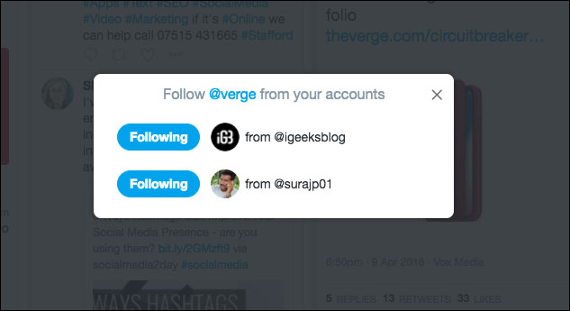 Select which accounts you want to follow or unfollow from in TweetDeck