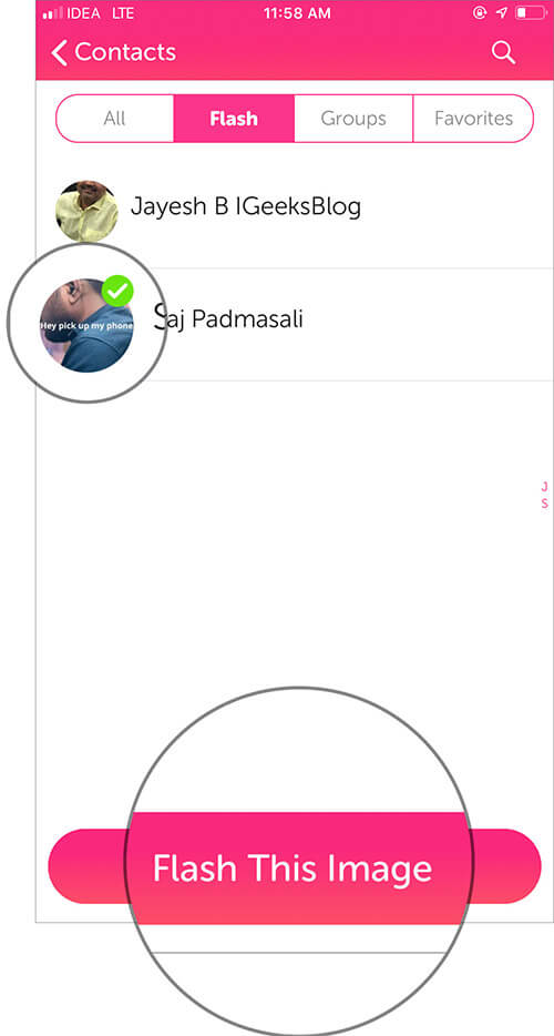 Select your Contact Profile and tap on Flash This Image in iOS Flash App